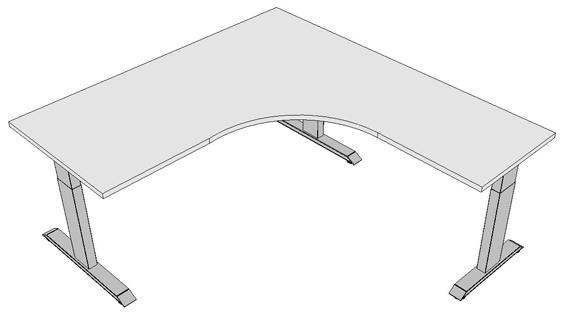 Eck-Schreibtisch Pendo Ergo Polar L-Form A 180 x 200 cm Auswahl Farbe Optionen