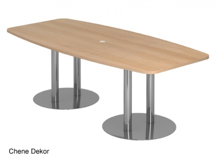 Konferenztisch Hammerbacher KT-Serie D 220 x 103-78 cm Eiche Chrom