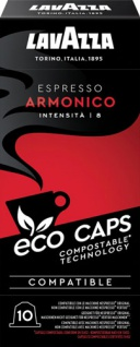 Lavazza Eco Caps Espresso Armonico 8, Nespresso-kompatibel, kompostierbar, 10 Kaffeekapseln
