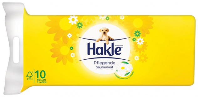 Hakle Pflegende Sauberkeit mit Kamille, Toilettenpapier 3-lagig, weiß bedruckt mit Prägung, natürli