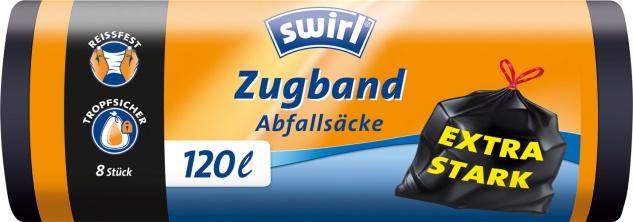 Swirl Abfallsäcke 120 Liter, mit Zugband, extra stark, schwarz/blickdicht, reissfest, tropfsicher