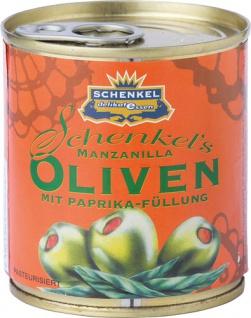Schenkel Oliven Manzanilla grün, mit Paprika-Füllung, aus Spanien