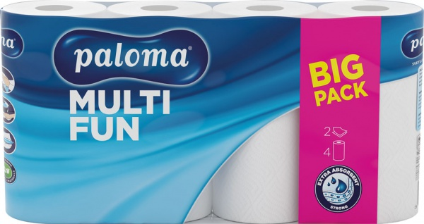 Paloma Küchenrolle MULTI FUN 2-lagig, weiß, 4 Rollen à 50 Blatt (22 x 22, 2 cm), 100 % Zellstoff