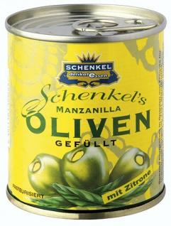Schenkel Oliven Manzanilla grün, mit Zitronen-Füllung, aus Spanien
