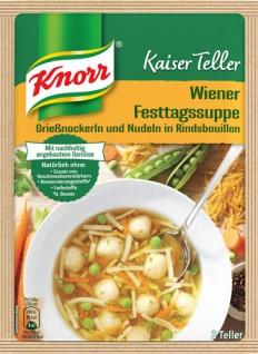 Knorr Kaiser Teller Wiener Festtags-Suppe, Grießnockerl und Nudeln in Rindsbouillon, 3 Teller
