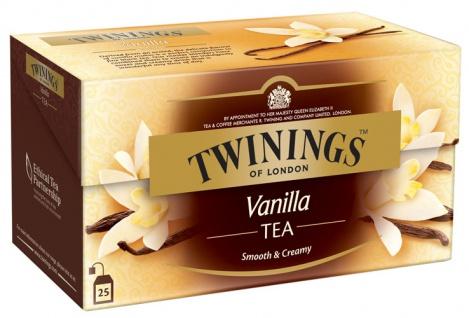 Twinings Vanilla, Schwarztee aromatisiert, Teebeutel im Kuvert