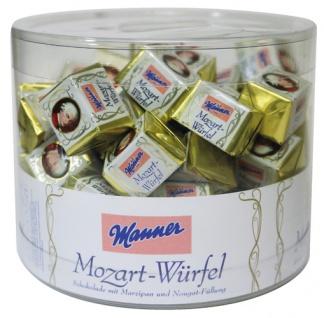 Manner Mozart-Würfel, 50 Stück, Klarsichtdose