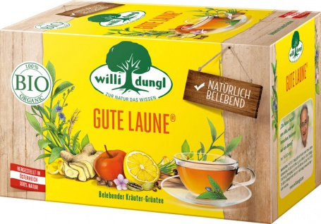 Willi Dungl Bio Gute Laune, belebender Kräuter-Grüntee, Teebeutel im Kuvert