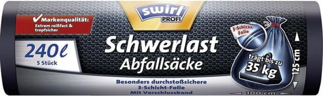Swirl Profi Schwerlast-Abfallsäcke Reißfest & Dicht 240 Liter, mit Verschlussband, schwarz/blickdic