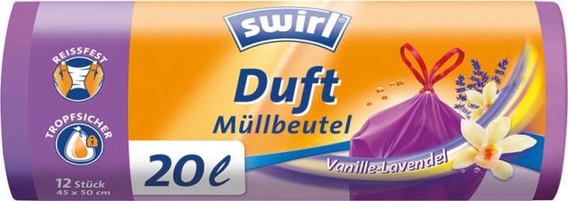 Swirl Duft-Müllbeutel Reißfest & Dicht 20 Liter Vanille & Lavendel, mit Zugband, violett/blickdicht
