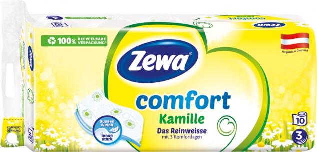 Zewa Comfort Kamille Das Reinweisse, Toilettenpapier 3-lagig, weiß mit Prägung, 10 x 150 Blatt