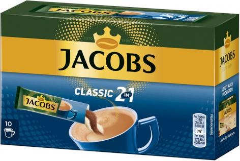 Jacobs 2in1, Löskaffee-Sticks mit Kaffeeweisser, 10 Portionen