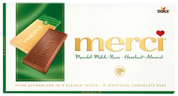 Merci Mandel-Milch-Nuss, 4 Mini-Tafelschokoladen