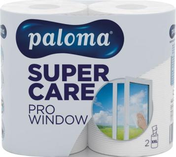 Paloma Küchenrolle Super Care PRO WINDOW XXL 1-lagig, weiß, 2 Rollen à 190 Blatt (22, 2 x 28 cm), 10