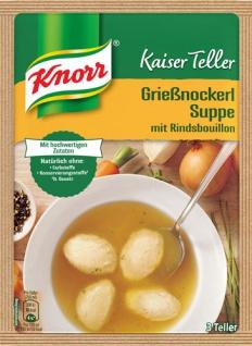 Knorr Kaiser Teller Grießnockerl-Suppe mit Rindsbouillon, 3 Teller