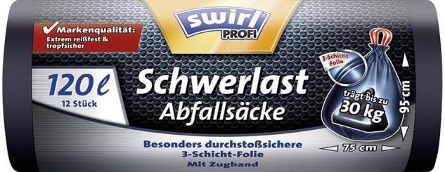 Swirl Profi Schwerlast-Abfallsäcke Reißfest & Dicht 120 Liter, mit Zugband, schwarz/blickdicht, trä