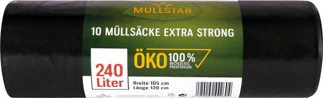 müllstar Öko-Müllsäcke 240 Liter extra strong, schwarz/blickdicht, 100 % Recycling