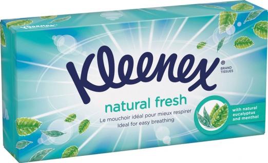 Kleenex Natural Fresh Taschentücher-Box, 3-lagig, mit Eukalyptus und Menthol