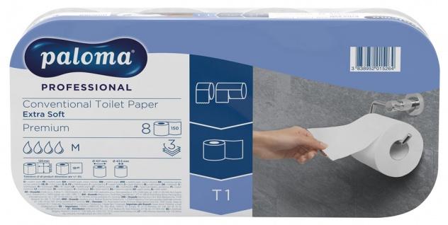 Paloma Toilettenpapier EXTRA SOFT, Professional PREMIUM, 3-lagig, weiß mit Prägung, 8 x 150 Blatt