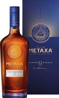 METAXA 12 Stern, 40 % Vol.Alk., Griechenland, im Geschenkkarton
