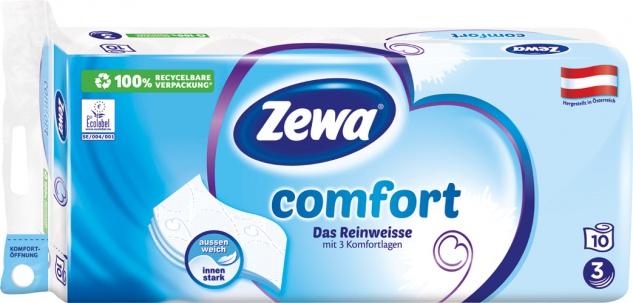 Zewa Comfort Das Reinweisse, Toilettenpapier 3-lagig, weiß bedruckt mit Prägung, 10 x 150 Blatt