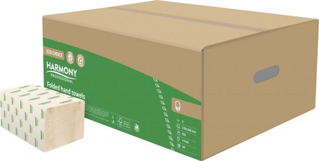 Harmony Professional Papier-Falthandtücher ECO CHOICE natur, V-Faltung, 2-lagig, 24x11, 5cm, Recycli