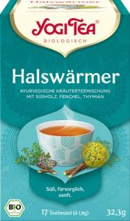 Yogi Tea Bio Halswärmer, Ayurvedische Kräuterteemischung mit Süßholz, Fenchel & Thymian, Teebeutel