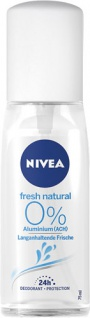 Nivea Fresh Natural 0 % Aluminum, 24h Deo Zerstäuber (Pumpe)