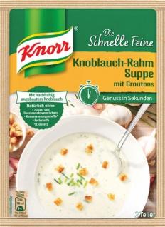 Knorr Die Schnelle Feine Knoblauch-Rahm-Suppe mit Croutons, 2 Teller