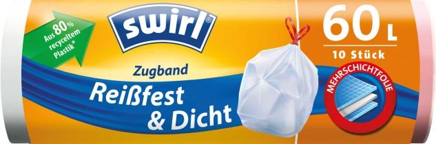 Swirl Müllbeutel Reißfest & Dicht 60 Liter, mit Zugband, weiss/blickdicht, aus 80 % recyceltem Plas