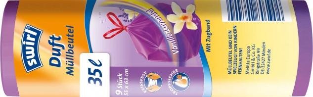 Swirl Duft-Müllbeutel Reißfest & Dicht 35 Liter Vanille & Lavendel, mit Zugband, violett/blickdicht