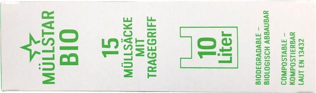 müllstar Bio-Müllsäcke 10 Liter, mit Tragegriff, grün/teil-transparent, biologisch abbaubar, kompos