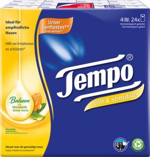 Tempo Soft & Sensitive Balsam Taschentücher mit Mandelöl & Aloe Vera, 4-lagig, 24 x 9 Stück, waschm