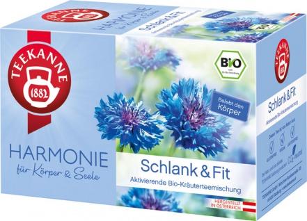 Teekanne Harmonie Bio Schlank & Fit, aktivierende Kräuterteemischung, Teebeutel im Kuvert