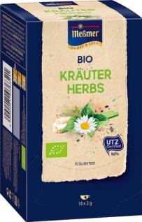 Meßmer ProfiLine Bio Kräuter mind. 50 % UTZ, Kräutertee, Teebeutel im Kuvert, 2. Entnahmefach/displ