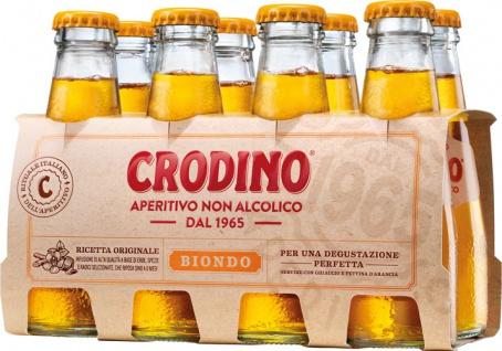 Crodino Biondo Bitteraperitif, alkoholfrei, 8 x 100 ml Flasche