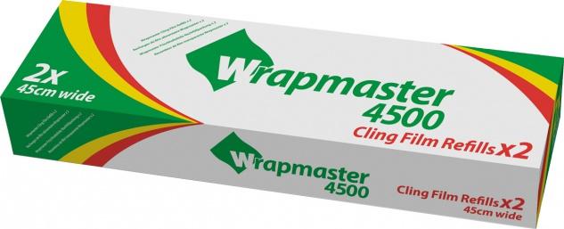 Toppits Professional Wrapmaster 4500 Frischhaltefolie 45 cm breit, 2 Rollen à 500 Meter