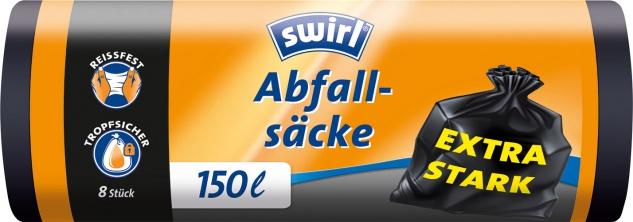 Swirl Abfallsäcke 150 Liter, extra stark, schwarz/blickdicht, reissfest, tropfsicher