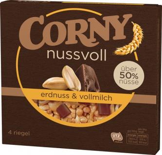 Corny nussvoll Erdnuss & Vollmilchschokolade Müsliriegel UTZ, 4 Stück