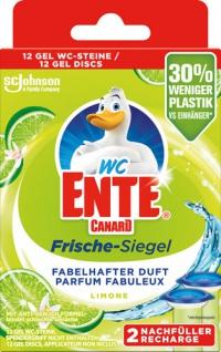 WC-Ente Frische-Siegel Limone, selbsthaftend, NACHFÜLLUNGEN, 2 x 6 Gel-Siegel