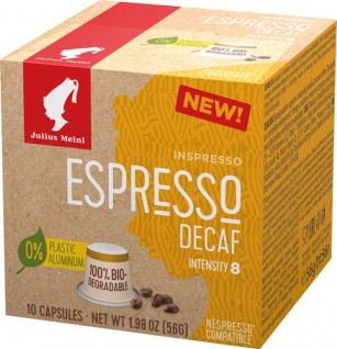 Julius Meinl Inspresso Espresso Decaf 8, koffeinfrei, Nespresso-kompatibel, kompostierbar, 10 Kaffe