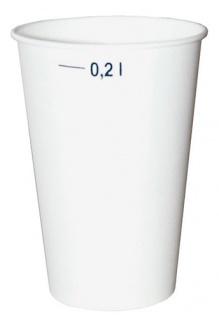 Trinkbecher 0, 2 Liter, Papier weiß, auch für Heißgetränke geeignet