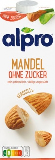 Alpro Mandel Drink Ohne Zucker, aus gerösteten Mandeln
