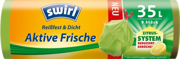 Swirl Aktive Frische Zitrus-System Müllbeutel Reißfest & Dicht 35 Liter, mit Zugband, grün/teil-tra