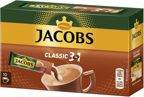 Jacobs 3in1, Löskaffee-Sticks mit Kaffeeweisser & Zucker, 10 Portionen