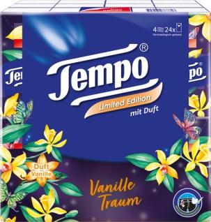 Tempo Duft Vanilletraum, Taschentücher mit Duft, 4-lagig, 24 x 9 Stück, waschmaschinenfest