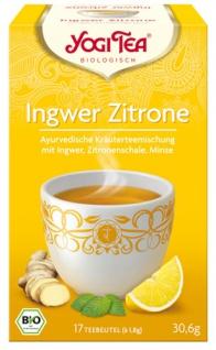 Yogi Tea Bio Ingwer-Zitrone, Kräuterteemischung mit Ingwer, Zitronenschale & Minze, Teebeutel im Ku