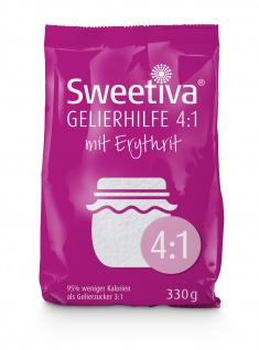 Sweetiva Gelierhilfe 4:1 mit Erythrit 330g - 95% weniger Kalorien | idealer Ersatz für Gelierzucker
