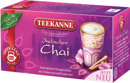 Teekanne Indischer Chai, Schwarztee-Gewürzmischung, Teebeutel im Kuvert
