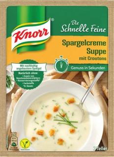 Knorr Die Schnelle Feine Spargelcreme-Suppe mit Croutons, 2 Teller